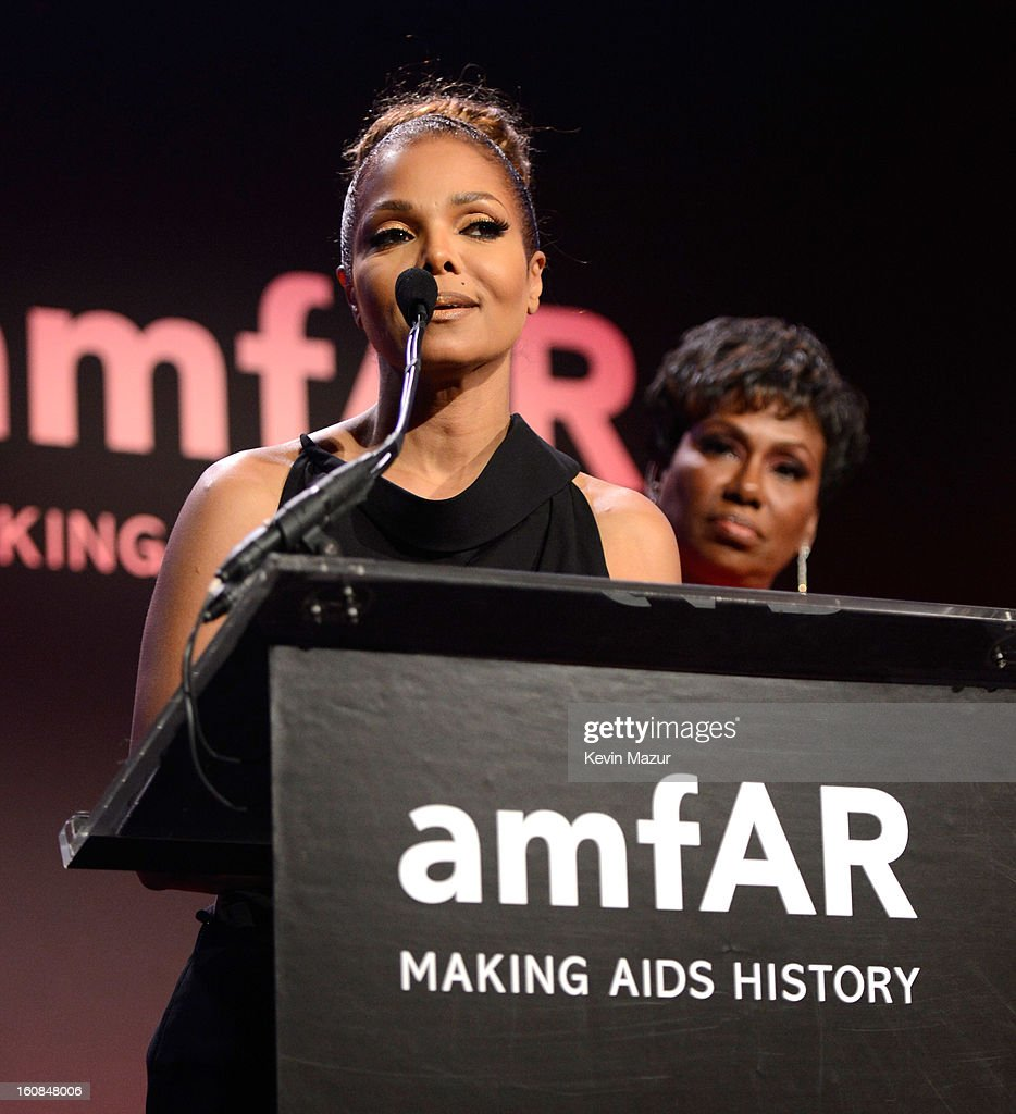 Janet Jackson speaks on stage at the amfAR New York Gala To Kick Off Fall 2013 Fashion Week at Cipriani Wall Street on February 6, 2013 in New York City.