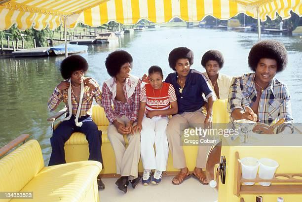 Janet Jackson with her brothers Marlon Jackson Michael Jackson Tito Jackson Randy Jackson and Jackie Jackson of The Jacksons pose during a publicity...