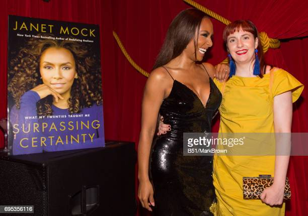 Janet Mock and host Lena Dunham during Janet Mock's 'Surpassing Certainty' Book release party at Public Hotel on June 12 2017 in New York City
