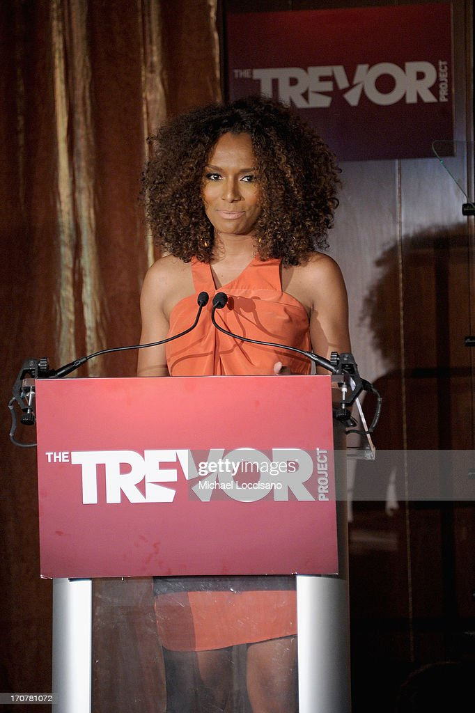 Janet Mock speaks on stage at TrevorLIVE New York at Pier Sixty at Chelsea Piers on June 17, 2013 in New York City.
