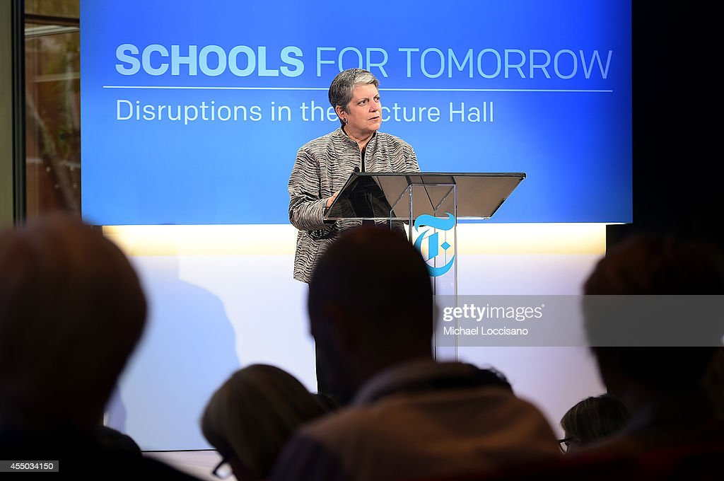 <a gi-track='captionPersonalityLinkClicked' href=/galleries/search?phrase=Janet+Napolitano&family=editorial&specificpeople=589781 ng-click='$event.stopPropagation()'>Janet Napolitano</a>, president of the University of California speaks onstage at The New York Times 2014 Schools For Tomorrow Conference at TheTimesCenter on September 9, 2014 in New York City.