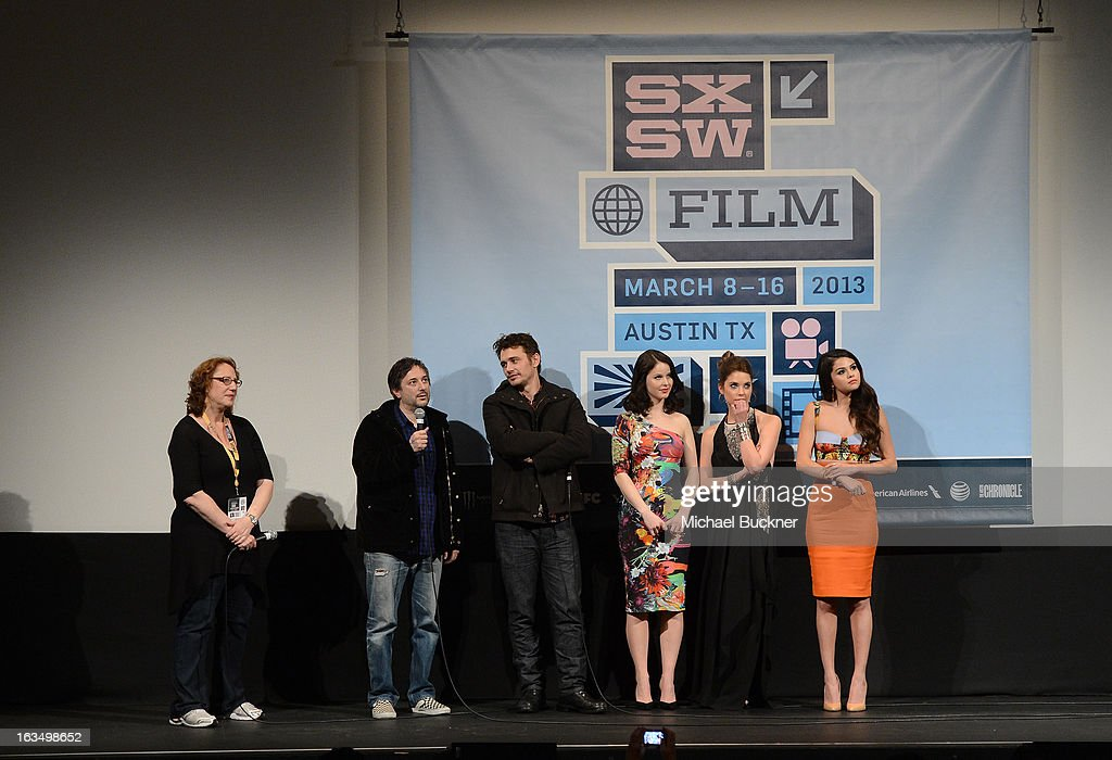 Janet Pierson, producer SXSW Film Festival, director Harmony Korine, actor James Franco, actress Rachel Korine, actress Ashley Benson and actress Selena Gomez speak at the Q & A for 'Spring Breakers' during the 2013 SXSW Music, Film + Interactive at the Paramount Theatre on March 10, 2013 in Austin, Texas.
