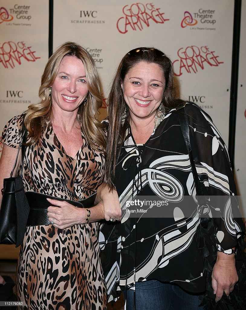 Janet Shaw (L) and actress Camryn Manheim (R) pose during the arrivals for the opening night performance of 'God of Carnage' at Center Theatre Group's Ahmanson Theatre on April 13, 2011 in Los Angeles, California.