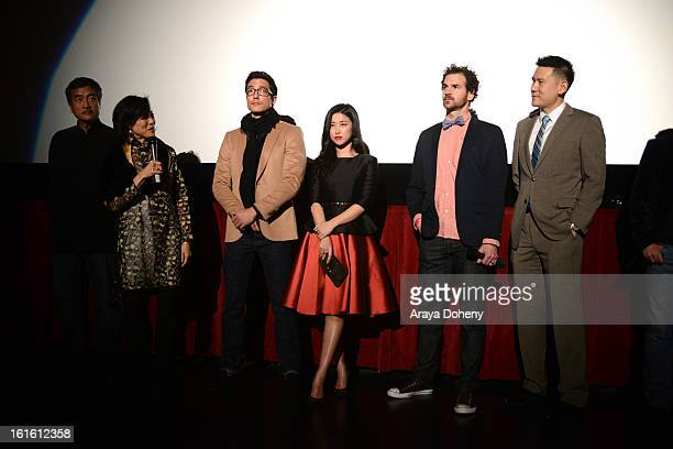 Janet Yang Daniel Henney Zhu Zhu Sean Gallagher and Daniel Hsia attend the 'Shanghai Calling' Los Angeles premiere at TCL Chinese Theatre on February...