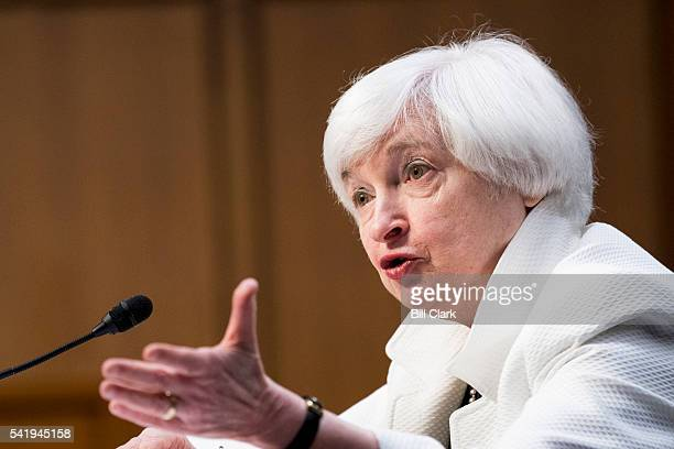 Janet Yellen Chair Board of Governors of the Federal Reserve System testifies during the Senate Banking Committee hearing on The Semiannual Monetary...