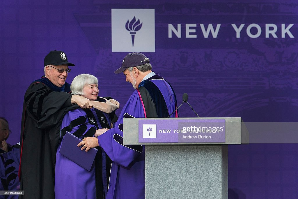 <a gi-track='captionPersonalityLinkClicked' href=/galleries/search?phrase=Janet+Yellen&family=editorial&specificpeople=2731344 ng-click='$event.stopPropagation()'>Janet Yellen</a>, Chair of the Board of Governors of the Federal Reserve System, receives an honorary doctorate before giving the commencement address at the 2014 New York University graduation ceremony at Yankee Stadium on May 21, 2014 in the Bronx borough of New York City.