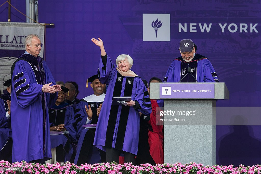 <a gi-track='captionPersonalityLinkClicked' href=/galleries/search?phrase=Janet+Yellen&family=editorial&specificpeople=2731344 ng-click='$event.stopPropagation()'>Janet Yellen</a>, Chair of the Board of Governors of the Federal Reserve System, waves to the crowd before giving the commencement address at the 2014 New York University graduation ceremony at Yankee Stadium on May 21, 2014 in the Bronx borough of New York City. Yellen received an honorary doctorate as well.