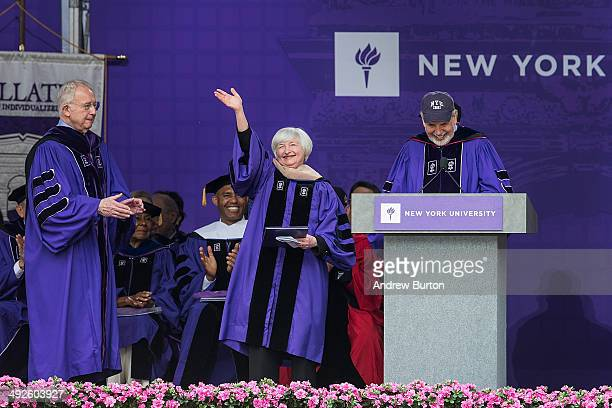 Janet Yellen Chair of the Board of Governors of the Federal Reserve System waves to the crowd before giving the commencement address at the 2014 New...