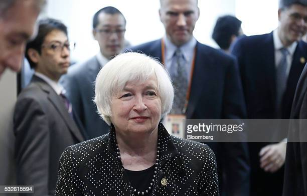 Janet Yellen chair of the US Federal Reserve arrives for the welcome reception ahead of the Group of Seven finance ministers and central bank...