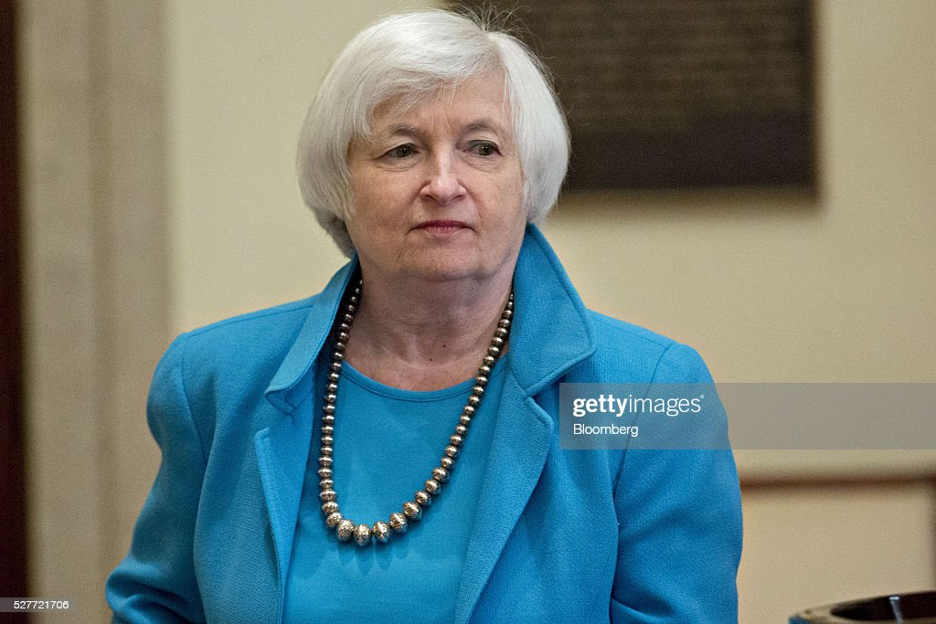 Janet Yellen, chair of the U.S. Federal Reserve, arrives to a meeting of the Board of Governors of the Federal Reserve in Washington, D.C., U.S., on Tuesday, May 3, 2016. Hedge funds, insurers and other companies that do business with Wall Street megabanks are poised to pay a price for regulators' efforts to make sure any future collapse of a giant lender doesn't tank the entire financial system. Photographer: Andrew Harrer/Bloomberg via Getty Images
