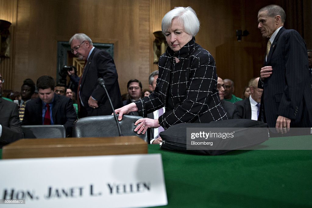 <a gi-track='captionPersonalityLinkClicked' href=/galleries/search?phrase=Janet+Yellen&family=editorial&specificpeople=2731344 ng-click='$event.stopPropagation()'>Janet Yellen</a>, chair of the U.S. Federal Reserve, arrives to a Senate Banking Committee hearing in Washington, D.C., U.S., on Thursday, Feb. 11, 2016. Yellen said yesterday the Federal Reserve still expects to raise interest rates gradually while making it clear that continued market turmoil could throw the central bank off course from the multiple increases that policy makers have forecast for 2016. Photographer: Andrew Harrer/Bloomberg via Getty Images