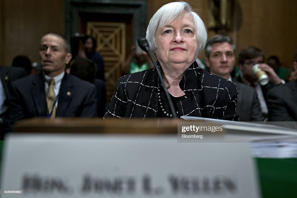 Janet Yellen, chair of the U.S. Federal Reserve, arrives to a Senate Banking Committee hearing in Washington, D.C., U.S., on Thursday, Feb. 11, 2016. Yellen said yesterday the Federal Reserve still expects to raise interest rates gradually while making it clear that continued market turmoil could throw the central bank off course from the multiple increases that policy makers have forecast for 2016. Photographer: Andrew Harrer/Bloomberg via Getty Images
