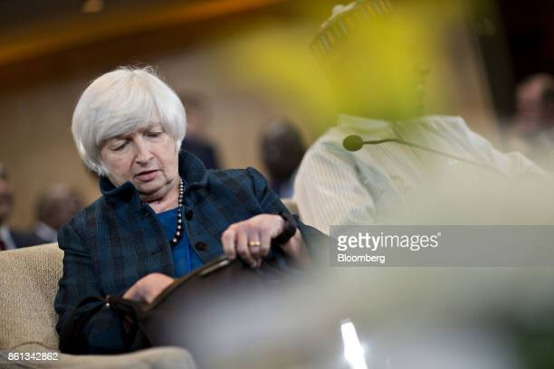 Janet Yellen chair of the US Federal Reserve arrives to an International Monetary Fund Committee plenary session at the International Monetary Fund...