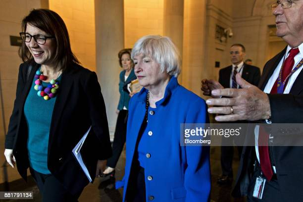 Janet Yellen chair of the US Federal Reserve center exits the Longworth House Office building after a Joint Economic Committee hearing in Washington...