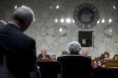 Janet Yellen chair of the US Federal Reserve center speaks during a Joint Economic Committee hearing in Washington DC US on Wednesday May 7 2014 The...