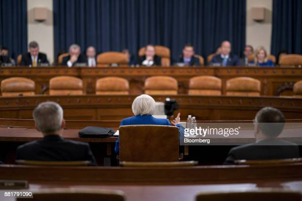 Janet Yellen chair of the US Federal Reserve center speaks during a Joint Economic Committee hearing in Washington DC US on Wednesday Nov 29 2017...