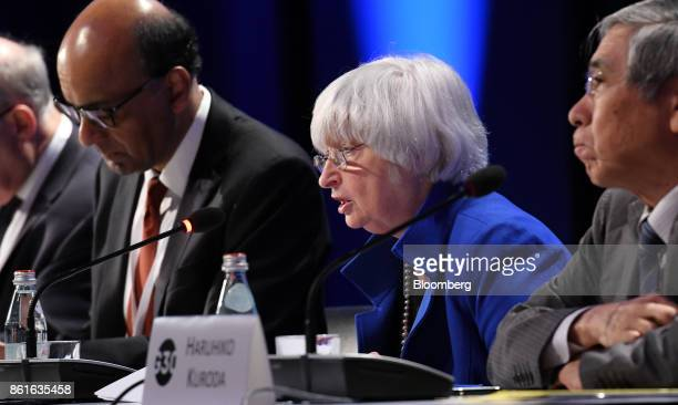 Janet Yellen chair of the US Federal Reserve center speaks during the Group of Thirty International Banking Seminar in Washington DC US on Sunday Oct...