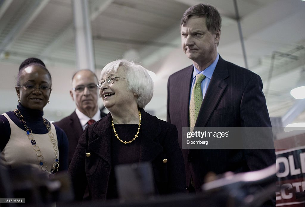 <a gi-track='captionPersonalityLinkClicked' href=/galleries/search?phrase=Janet+Yellen&family=editorial&specificpeople=2731344 ng-click='$event.stopPropagation()'>Janet Yellen</a>, chair of the U.S. Federal Reserve, laughs as she tours the manufacturing lab at Daley College with <a gi-track='captionPersonalityLinkClicked' href=/galleries/search?phrase=Charles+Plosser&family=editorial&specificpeople=6564347 ng-click='$event.stopPropagation()'>Charles Plosser</a>, chairman of the Federal Reserve Bank of Chicago, right, in Chicago, Illinois, U.S., on Monday, March 31, 2014. Yellen said 'considerable slack' in the labor market is evidence that the central banks unprecedented accommodation will still be needed for 'some time' to combat unemployment. Photographer: Daniel Acker/Bloomberg via Getty Images