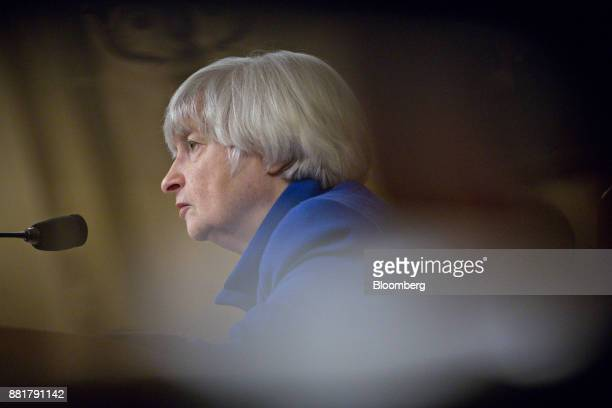 Janet Yellen chair of the US Federal Reserve listens during a Joint Economic Committee hearing in Washington DC US on Wednesday Nov 29 2017 Yellen in...