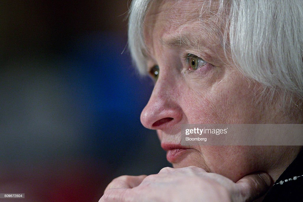Janet Yellen, chair of the U.S. Federal Reserve, listens during a Senate Banking Committee hearing in Washington, D.C., U.S., on Thursday, Feb. 11, 2016. Yellen said the Fed was taking another look at negative interest rates as a potential policy tool if the U.S. economy faltered, after central banks in Europe were able to drive borrowing costs below zero. Photographer: Andrew Harrer/Bloomberg via Getty Images