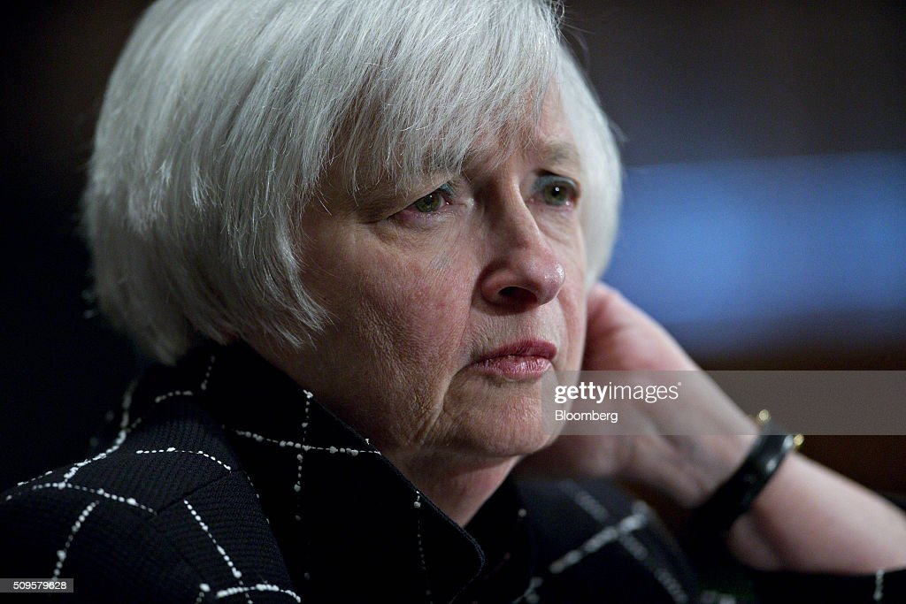 <a gi-track='captionPersonalityLinkClicked' href=/galleries/search?phrase=Janet+Yellen&family=editorial&specificpeople=2731344 ng-click='$event.stopPropagation()'>Janet Yellen</a>, chair of the U.S. Federal Reserve, listens during a Senate Banking Committee hearing in Washington, D.C., U.S., on Thursday, Feb. 11, 2016. Yellen said the Fed was taking another look at negative interest rates as a potential policy tool if the U.S. economy faltered, a scenario some investors view as a mounting possibility amid a darkening outlook for world growth. Photographer: Andrew Harrer/Bloomberg via Getty Images
