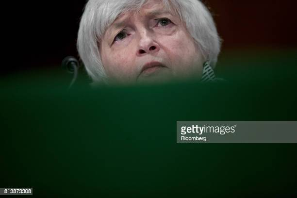 Janet Yellen chair of the US Federal Reserve listens during a Senate Banking Committee hearing in Washington DC US on Thursday July 13 2017 Yellen...