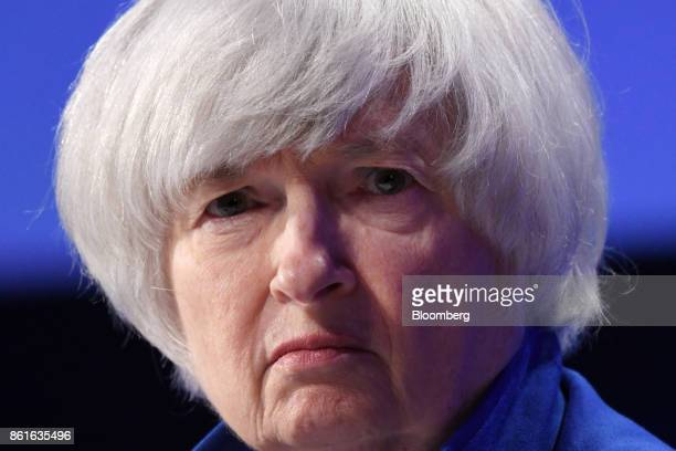 Janet Yellen chair of the US Federal Reserve listens during the Group of Thirty International Banking Seminar in Washington DC US on Sunday Oct 15...