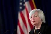 Janet Yellen chair of the US Federal Reserve listens to a question during a news conference following a Federal Open Market Committee meeting in...