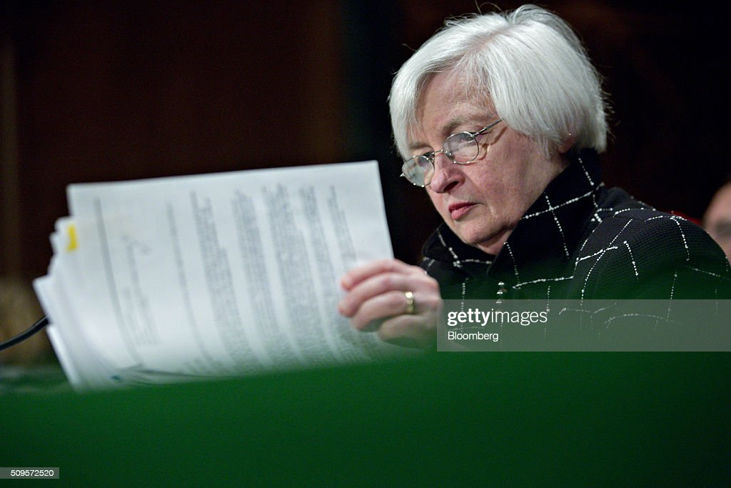 <a gi-track='captionPersonalityLinkClicked' href=/galleries/search?phrase=Janet+Yellen&family=editorial&specificpeople=2731344 ng-click='$event.stopPropagation()'>Janet Yellen</a>, chair of the U.S. Federal Reserve, looks through a binder during a Senate Banking Committee hearing in Washington, D.C., U.S., on Thursday, Feb. 11, 2016. Yellen said the Fed was taking another look at negative interest rates as a potential policy tool if the U.S. economy faltered, after central banks in Europe were able to drive borrowing costs below zero. Photographer: Andrew Harrer/Bloomberg via Getty Images