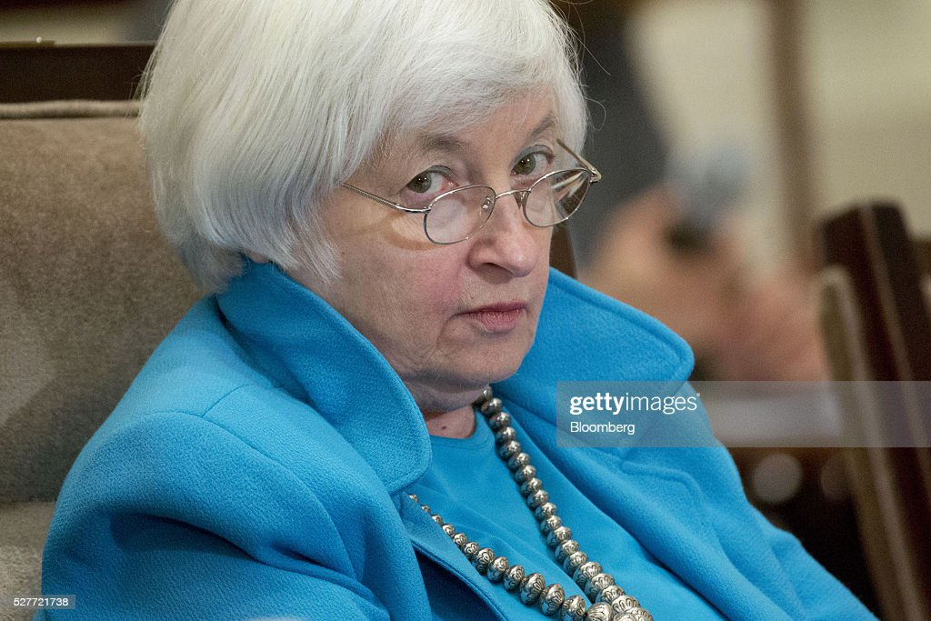 Janet Yellen, chair of the U.S. Federal Reserve, pauses while speaking during a meeting of the Board of Governors of the Federal Reserve in Washington, D.C., U.S., on Tuesday, May 3, 2016. Hedge funds, insurers and other companies that do business with Wall Street megabanks are poised to pay a price for regulators' efforts to make sure any future collapse of a giant lender doesn't tank the entire financial system. Photographer: Andrew Harrer/Bloomberg via Getty Images