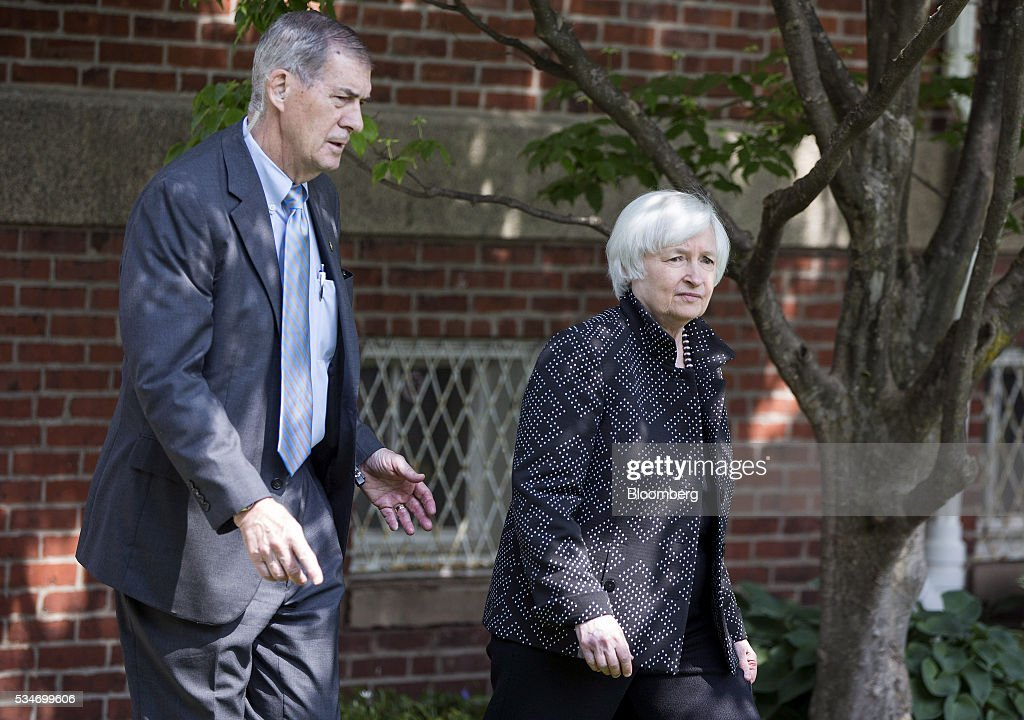 <a gi-track='captionPersonalityLinkClicked' href=/galleries/search?phrase=Janet+Yellen&family=editorial&specificpeople=2731344 ng-click='$event.stopPropagation()'>Janet Yellen</a>, chair of the U.S. Federal Reserve, right, arrives for a Radcliffe Day event at Harvard University in Cambridge, Massachusetts, U.S., on Friday, May, 27, 2016. Investors and traders are eager for visibility after the minutes of the Federal Open Market Committee's April policy-setting meeting showed that the central bank may be getting closer to another rate hike in the coming months, after an increase in December. Photographer: Scott Eisen/Bloomberg via Getty Images