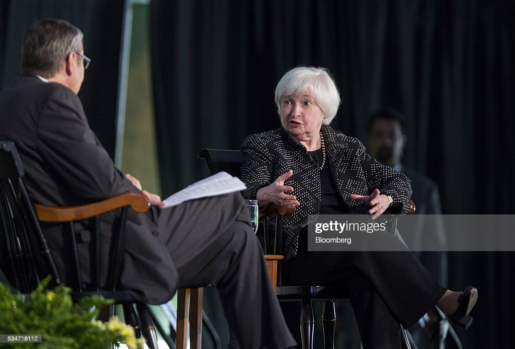 <a gi-track='captionPersonalityLinkClicked' href=/galleries/search?phrase=Janet+Yellen&family=editorial&specificpeople=2731344 ng-click='$event.stopPropagation()'>Janet Yellen</a>, chair of the U.S. Federal Reserve, right, speaks as Gregory Mankiw, chairman and professor of economics department at Harvard University, listens during a Radcliffe Day event at Harvard University in Cambridge, Massachusetts, U.S., on Friday, May 27, 2016. Yellen said the ongoing improvement in the U.S. economy would warrant another interest rate increase 'in the coming months,' stopping short of giving an explicit hint that the central bank would act in June. Photographer: Scott Eisen/Bloomberg via Getty Images