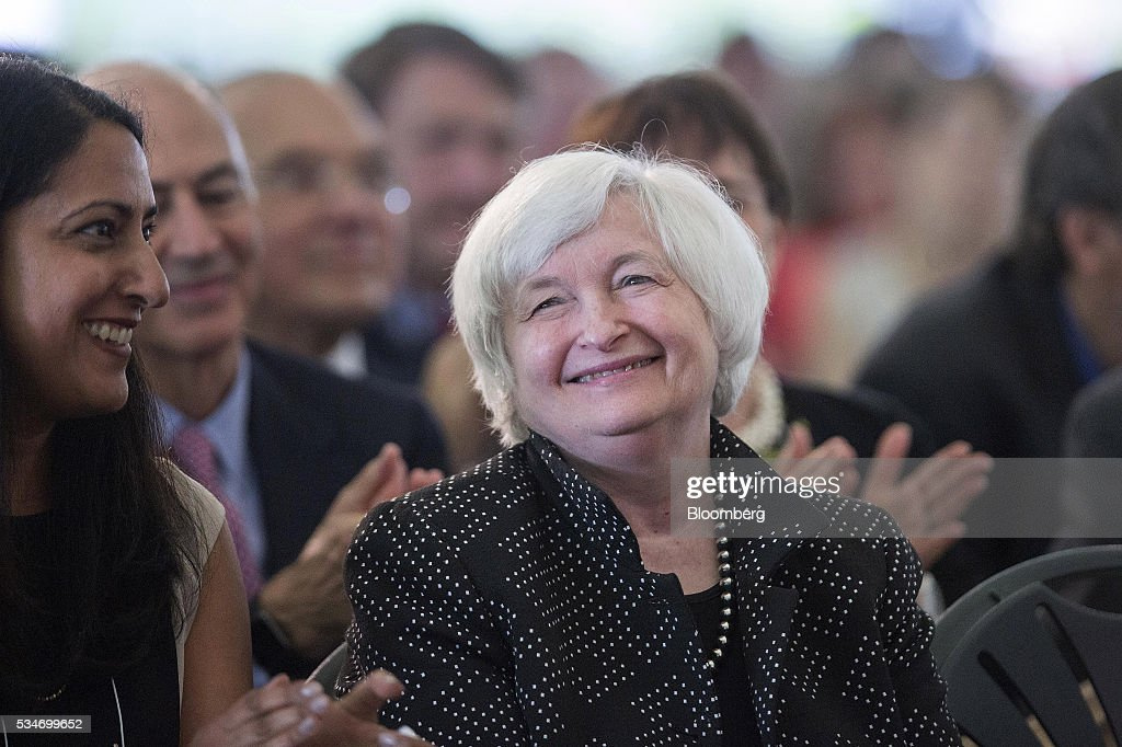 <a gi-track='captionPersonalityLinkClicked' href=/galleries/search?phrase=Janet+Yellen&family=editorial&specificpeople=2731344 ng-click='$event.stopPropagation()'>Janet Yellen</a>, chair of the U.S. Federal Reserve, smiles during a Radcliffe Day event at Harvard University in Cambridge, Massachusetts, U.S., on Friday, May 27, 2016. Investors and traders are eager for visibility after the minutes of the Federal Open Market Committee's April policy-setting meeting showed that the central bank may be getting closer to another rate hike in the coming months, after an increase in December. Photographer: Scott Eisen/Bloomberg via Getty Images