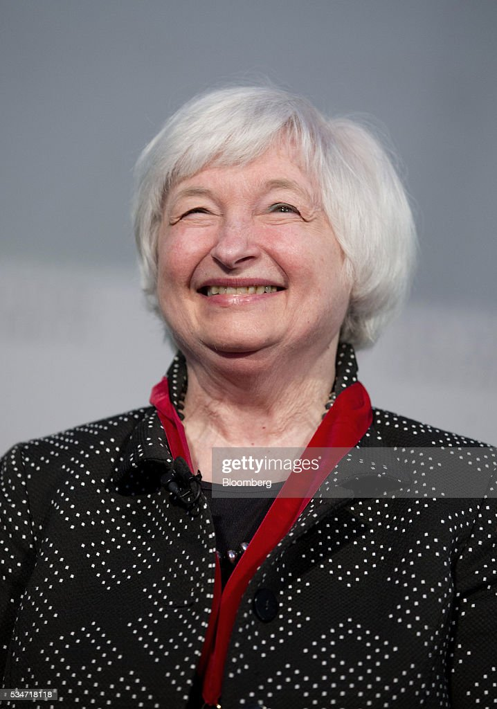 <a gi-track='captionPersonalityLinkClicked' href=/galleries/search?phrase=Janet+Yellen&family=editorial&specificpeople=2731344 ng-click='$event.stopPropagation()'>Janet Yellen</a>, chair of the U.S. Federal Reserve, smiles during a Radcliffe Day event at Harvard University in Cambridge, Massachusetts, U.S., on Friday, May 27, 2016. Yellen said the ongoing improvement in the U.S. economy would warrant another interest rate increase 'in the coming months,' stopping short of giving an explicit hint that the central bank would act in June. Photographer: Scott Eisen/Bloomberg via Getty Images