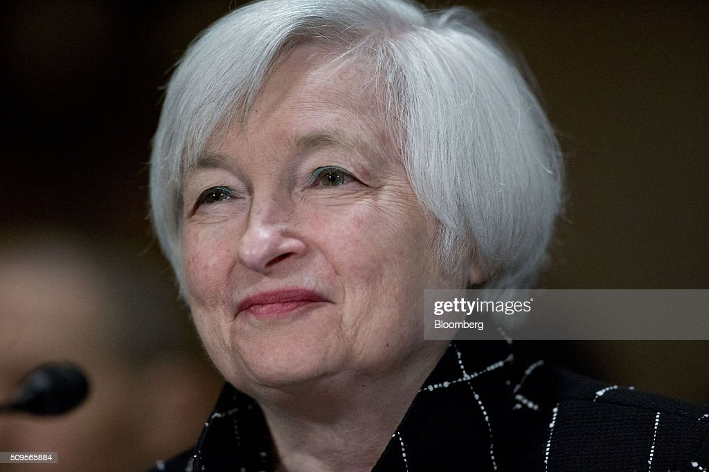 <a gi-track='captionPersonalityLinkClicked' href=/galleries/search?phrase=Janet+Yellen&family=editorial&specificpeople=2731344 ng-click='$event.stopPropagation()'>Janet Yellen</a>, chair of the U.S. Federal Reserve, smiles during a Senate Banking Committee hearing in Washington, D.C., U.S., on Thursday, Feb. 11, 2016. Yellen said yesterday the Federal Reserve still expects to raise interest rates gradually while making it clear that continued market turmoil could throw the central bank off course from the multiple increases that policy makers have forecast for 2016. Photographer: Andrew Harrer/Bloomberg via Getty Images