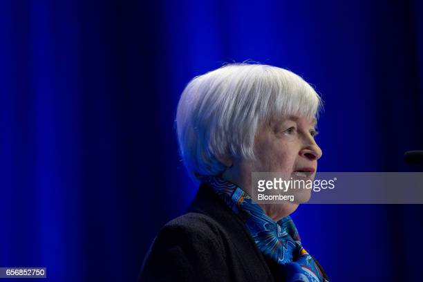 Janet Yellen chair of the US Federal Reserve speaks at the Federal Reserve System Community Development Research Conference in Washington DC US on...