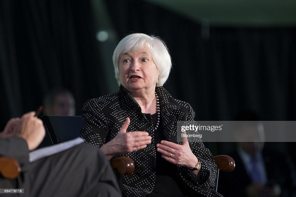 <a gi-track='captionPersonalityLinkClicked' href=/galleries/search?phrase=Janet+Yellen&family=editorial&specificpeople=2731344 ng-click='$event.stopPropagation()'>Janet Yellen</a>, chair of the U.S. Federal Reserve, speaks during a Radcliffe Day event at Harvard University in Cambridge, Massachusetts, U.S., on Friday, May 27, 2016. Yellen said the ongoing improvement in the U.S. economy would warrant another interest rate increase 'in the coming months,' stopping short of giving an explicit hint that the central bank would act in June. Photographer: Scott Eisen/Bloomberg via Getty Images