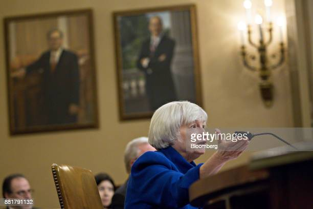 Janet Yellen chair of the US Federal Reserve speaks during a Joint Economic Committee hearing in Washington DC US on Wednesday Nov 29 2017 Yellen in...