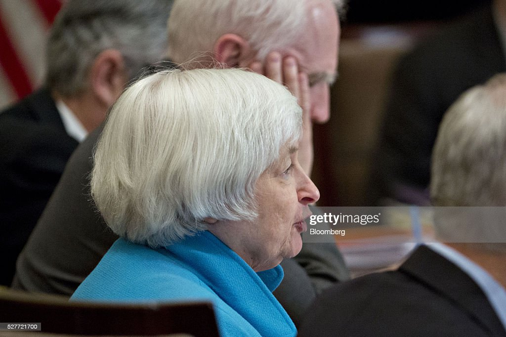 Janet Yellen, chair of the U.S. Federal Reserve, speaks during a meeting of the Board of Governors of the Federal Reserve in Washington, D.C., U.S., on Tuesday, May 3, 2016. Hedge funds, insurers and other companies that do business with Wall Street megabanks are poised to pay a price for regulators' efforts to make sure any future collapse of a giant lender doesn't tank the entire financial system. Photographer: Andrew Harrer/Bloomberg via Getty Images