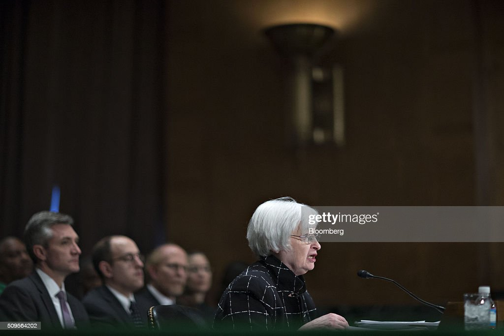Janet Yellen, chair of the U.S. Federal Reserve, speaks during a Senate Banking Committee hearing in Washington, D.C., U.S., on Thursday, Feb. 11, 2016. Yellen said yesterday the Federal Reserve still expects to raise interest rates gradually while making it clear that continued market turmoil could throw the central bank off course from the multiple increases that policy makers have forecast for 2016. Photographer: Andrew Harrer/Bloomberg via Getty Images