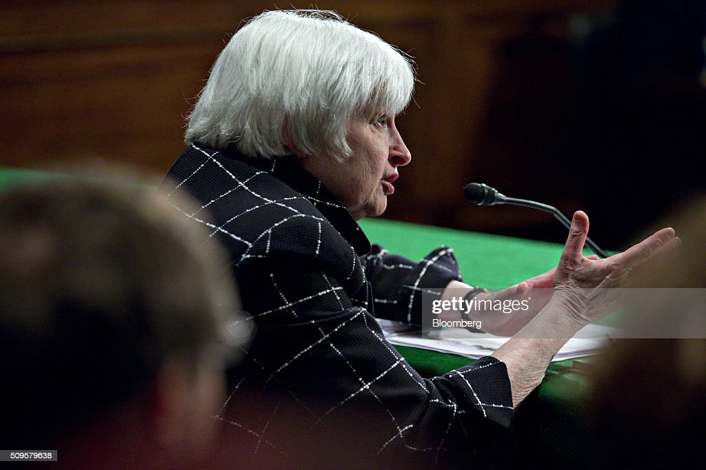 <a gi-track='captionPersonalityLinkClicked' href=/galleries/search?phrase=Janet+Yellen&family=editorial&specificpeople=2731344 ng-click='$event.stopPropagation()'>Janet Yellen</a>, chair of the U.S. Federal Reserve, speaks during a Senate Banking Committee hearing in Washington, D.C., U.S., on Thursday, Feb. 11, 2016. Yellen said the Fed was taking another look at negative interest rates as a potential policy tool if the U.S. economy faltered, a scenario some investors view as a mounting possibility amid a darkening outlook for world growth. Photographer: Andrew Harrer/Bloomberg via Getty Images