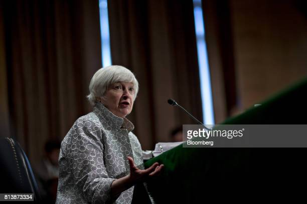 Janet Yellen chair of the US Federal Reserve speaks during a Senate Banking Committee hearing in Washington DC US on Thursday July 13 2017 Yellen...