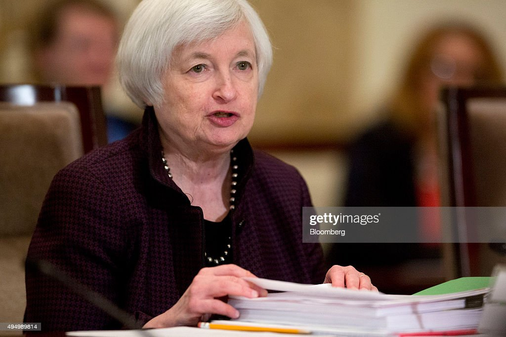 Janet Yellen, chair of the U.S. Federal Reserve, speaks during an open meeting of the Board of Governors of the Federal Reserve in Washington, D.C., U.S., on Friday, Oct. 30, 2015. According to a Federal Reserve rule that's set to be approved today, the largest U.S. banks would face a $120 billion total shortfall of long-term debt under a Fed proposal aimed at ensuring their failure wouldn't hurt the broader financial system. Photographer: Andrew Harrer/Bloomberg via Getty Images