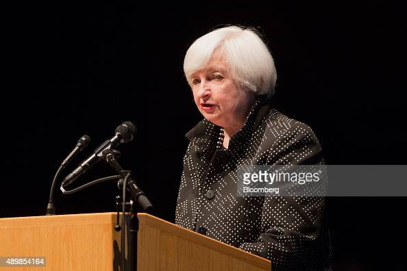 Janet Yellen chair of the US Federal Reserve speaks during the annual Philip Gamble Memorial Lecture at the University of Massachusetts Amherst in...