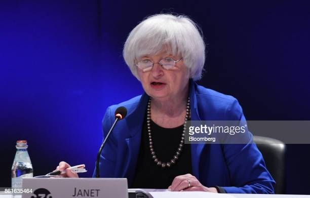 Janet Yellen chair of the US Federal Reserve speaks during the Group of Thirty International Banking Seminar in Washington DC US on Sunday Oct 15...