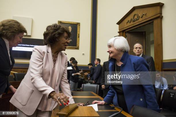 Janet Yellen chair of the US Federal Reserve speaks with Representative Maxine Waters a Democrat from California and ranking member of the House...