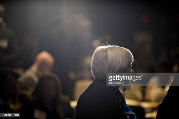 Janet Yellen chair of the US Federal Reserve talks to attendees before speaking at the Federal Reserve System Community Development Research...