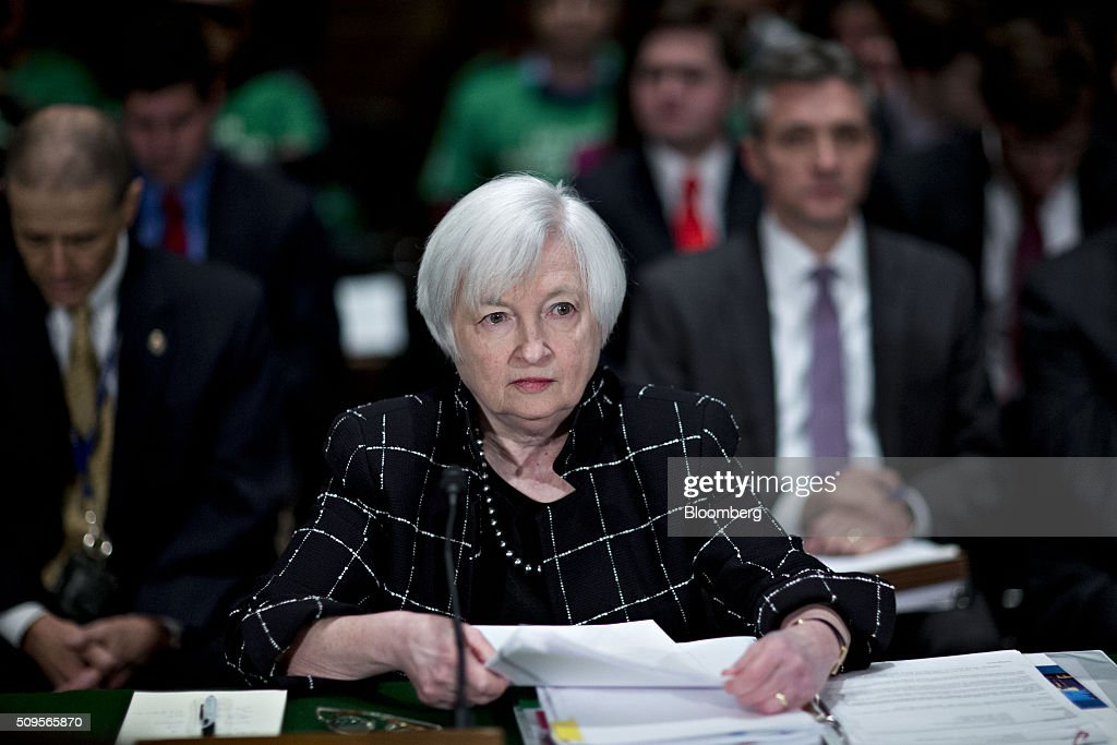 <a gi-track='captionPersonalityLinkClicked' href=/galleries/search?phrase=Janet+Yellen&family=editorial&specificpeople=2731344 ng-click='$event.stopPropagation()'>Janet Yellen</a>, chair of the U.S. Federal Reserve, waits to begin a Senate Banking Committee hearing in Washington, D.C., U.S., on Thursday, Feb. 11, 2016. Yellen said yesterday the Federal Reserve still expects to raise interest rates gradually while making it clear that continued market turmoil could throw the central bank off course from the multiple increases that policy makers have forecast for 2016. Photographer: Andrew Harrer/Bloomberg via Getty Images