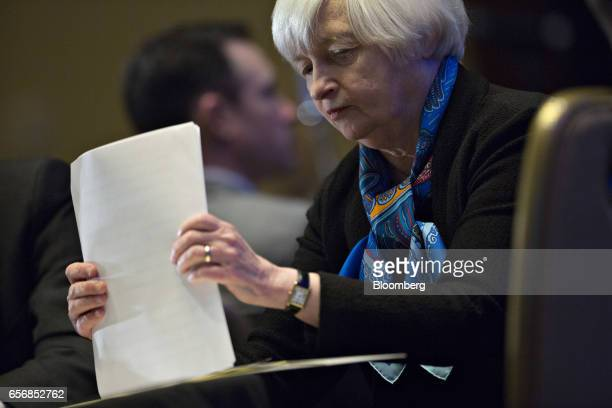 Janet Yellen chair of the US Federal Reserve waits to speak at the Federal Reserve System Community Development Research Conference in Washington DC...
