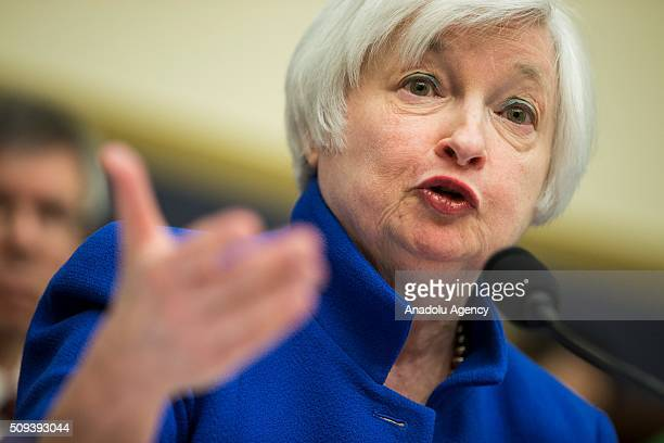 Janet Yellen Chairwoman of the Federal Reserve Board of Governors testifies during a House Financial Services Committee hearing on monetary policy...